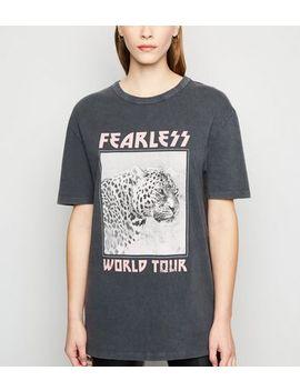 Dark Grey Leopard Fearless Slogan T Shirt by New Look