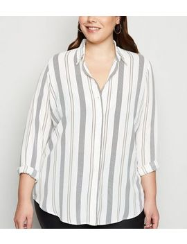 Curves White Stripe Crepe Shirt by New Look