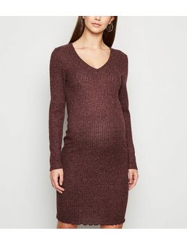 Maternity Burgundy Brushed Ribbed Mini Dress by New Look