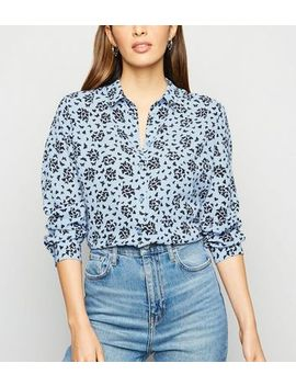 Blue Butterfly Print Long Sleeve Shirt by New Look