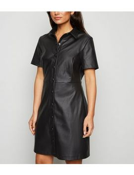 Petite Black Leather Look Mini Dress by New Look