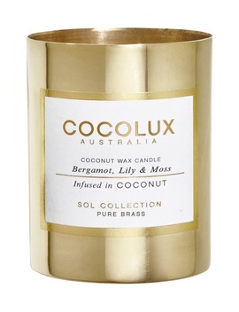 Bergamot, Lily & Moss Small Brass Candle by Cocolux Australia