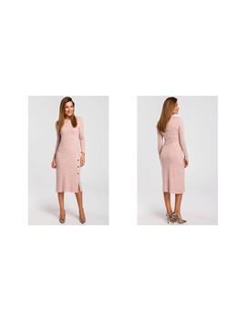 Long Sleeve Midi Jumper Dress In Light Pink by Moe
