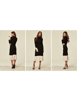 Soft Knitted Ribbed Midi Bodycon Dress In Black White Contrast Design by Cy Boutique