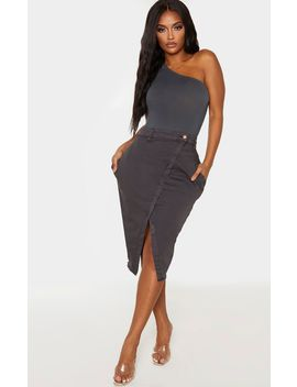 Shape Charcoal Wrap Denim Midi Skirt by Prettylittlething