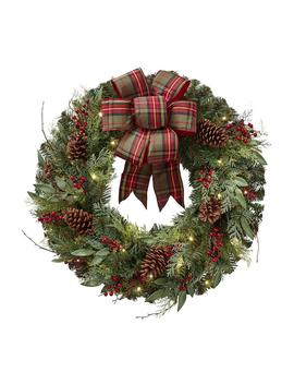 32 In. Pre Lit Artificial Christmas Wreath With Plaid Ribbon And 50 Battery Operated Warm White Led by Home Accents Holiday