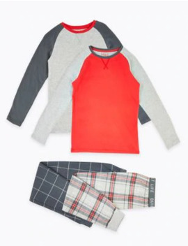2 Pack Checked Pyjama Sets (3 16 Years) by Marks & Spencer
