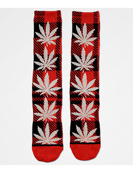 Huf Plantlife Plaid Poppy Red Crew Socks by Huf