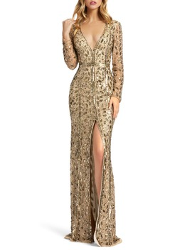 Embellished Long Sleeve Evening Gown by Mac Duggal
