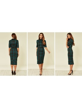 Winona Work Midi Dress In Green And Black Check by Collectif Clothing