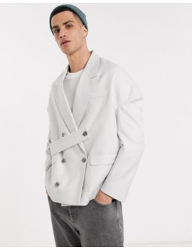 Asos Design Oversized Blazer With Strap Details In Gray Texture by Asos Design