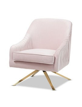 Amaya Velvet Lounge Chair Light Pink/Gold   Baxton Studio by Baxton Studio