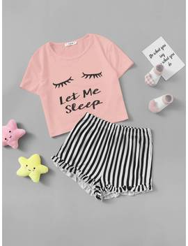 Shein Girls Graphic Tee & Frilled Hem Striped Shorts Pj Set by Shein