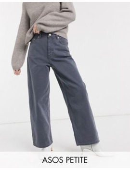 Asos Design – Petite – Grå Dad Jeans Med Hög Midja by Asos Design