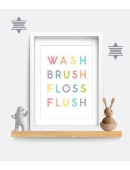 Bathroom Wall Art, Bathroom Print, Kids Bathroom Print, Wash Brush Floss Flush Print, Home Decor, Toilet Wall Decor, Family Wc Wall Art by Etsy