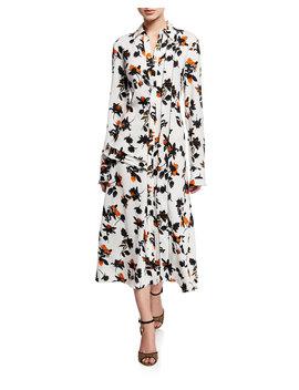 Floating Floral Long Sleeve Dress by Derek Lam