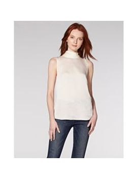Satin Pleated Neck Blouse by Vince Camuto
