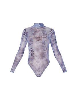 Blue Oriental Print Mesh High Neck Long Sleeve Bodysuit by Prettylittlething