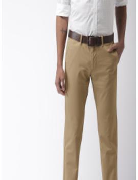 Men Khaki Brooklyn Slim Fit Solid Trousers by Indian Terrain