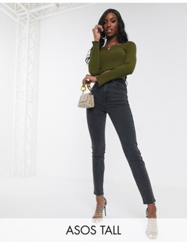 Asos Design Tall Farleigh High Waisted Slim Mom Jeans In Washed Black by Asos Design