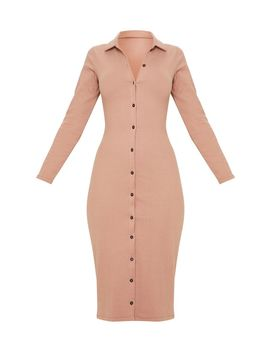 Camel  Heavy Rib Button Front Collar Detail Long Sleeve Midi Dress by Prettylittlething