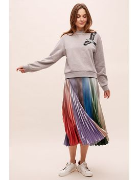 Metallic Striped Pleated Skirt by Anthropologie