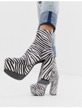 Asos Design   Entice   Sock Boots Met Plateauzolen En Zebraprint by Asos Design
