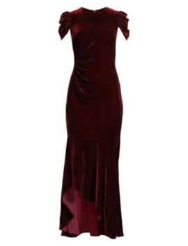 Ruched Cap Sleeve Silk Velvet Column Gown by Shoshanna