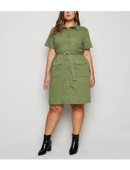 Curves   Robe Chemise Utility Kaki by New Look