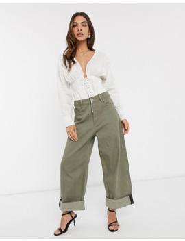 Asos Design Cotton Blouse With Corset Detail by Asos Design