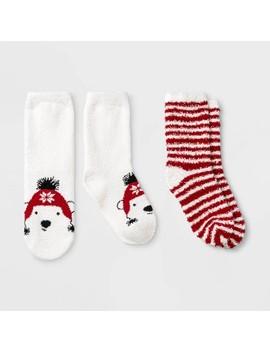 Kids' 2pk Bear Holiday Cozy Socks   Wondershop™ White by Wondershop