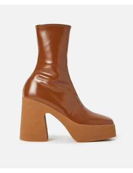 Chunky Ankle Boots In Brown by Stella Mccartney