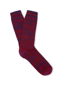 Eye/Loewe/Nature Logo Embroidered Mélange Stretch Knit Socks by Loewe