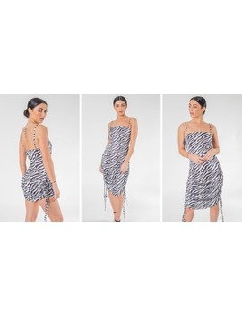 White Zebra Print Adjustable Length  Maxi And Mini Dress by Saint Genies