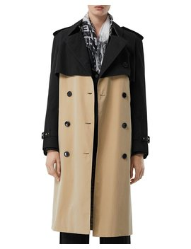 Deighton Two Tone Trench Coat by Burberry
