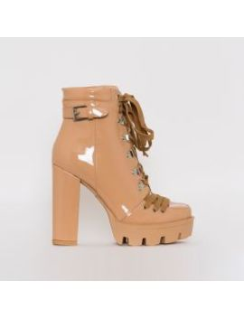 Oriana Nude Patent Lace Up Platform Ankle Boots by Simmigirl