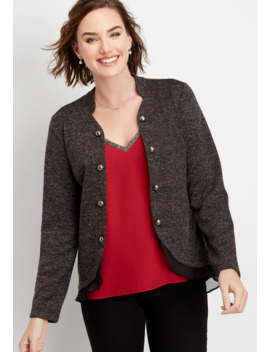 Ruffle Trim Open Front Military Cardigan by Maurices