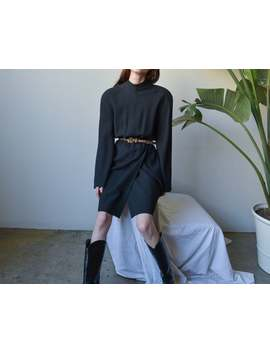 Christian Lacroix Black Wool Strong Shoulder Dress / Wrap Skirt Mini Little Black Dress / It 44 / F 42 / Us 8 / 1916d by Etsy