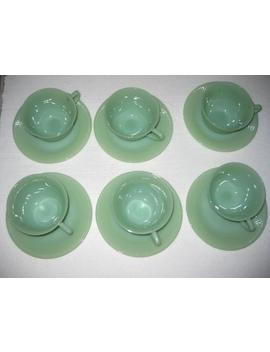 12 Pc Vintage Fire King Cup & Saucer Set Jadeite Jade Ite Jane Ray Pattern Un Marked #2  #051919 by Etsy