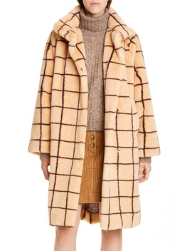 Demetria Check Faux Fur Coat by Baum Und Pferdgarten
