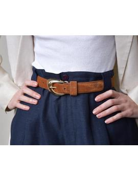 2448a / Brown Suede Leather Belt / S by Etsy