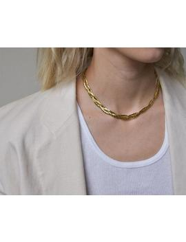 2467a / Gold Braided Necklace by Etsy