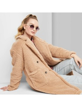 Women's Long Sleeve Button Front Sherpa Pea Coat   Wild Fable™ Tan by Wild Fable