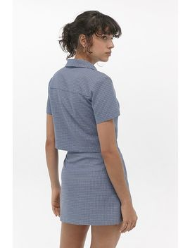 Urban Renewal Inspired By Vintage Blue Checked Pelmet Skirt by Urban Renewal