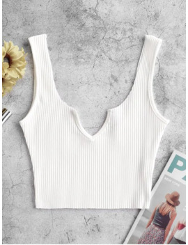 Popular Sale Ribbed V Notch Tank Top   White M by Zaful