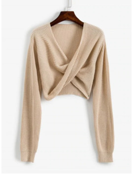 Hot V Neck Cropped Twist Front Sweater   Apricot S by Zaful