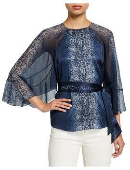 Matilda Python Print Draped Sleeve Silk Blouse by Elie Tahari