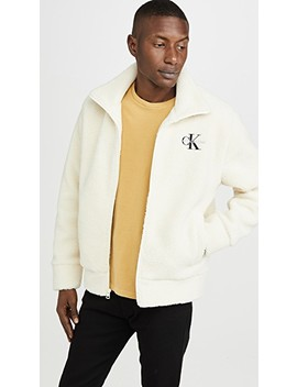Sherpa Quarter Zip Popover Hoodie by Calvin Klein Jeans