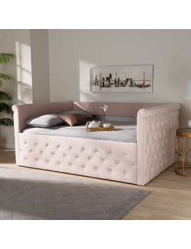 Baxton Studio Amaya Modern And Contemporary Light Pink Velvet Fabric Upholstered Twin Size Daybed With Trundle by Baxton Studio
