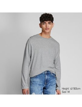 Men Supima® Cotton Crew Neck Long Sleeve T Shirt by Uniqlo